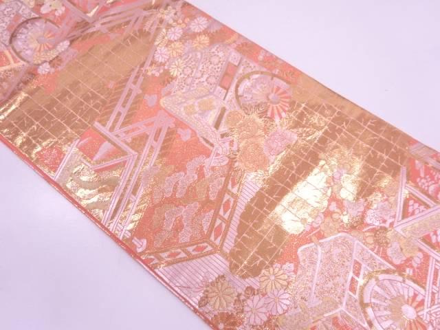 【IDN】 未使用品 純金箔御所庭園紋織出し袋帯【リサイクル】【着】