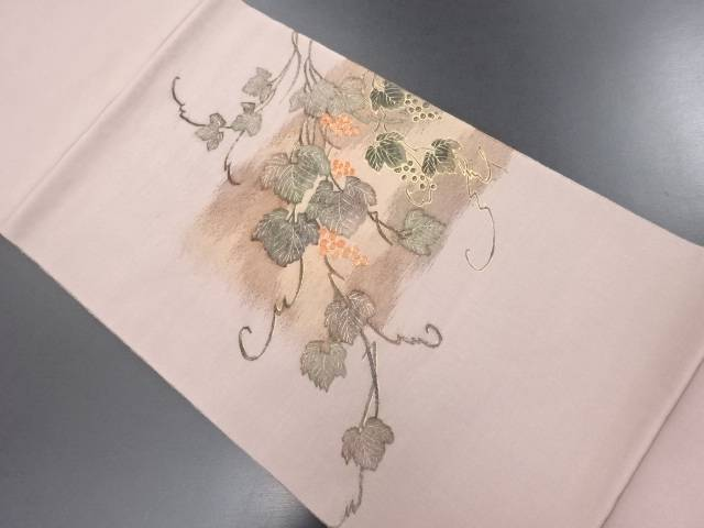【IDN】 青山みとも謹製 作家物 明綴れ葡萄模様織り出し袋帯【リサイクル】【中古】【着】