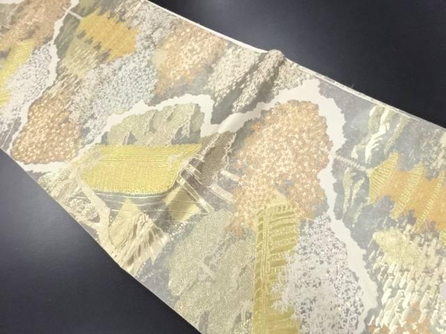 【IDN】 服部織物製 本金箔東山風景文様織り出し袋帯【リサイクル】【中古】【着】