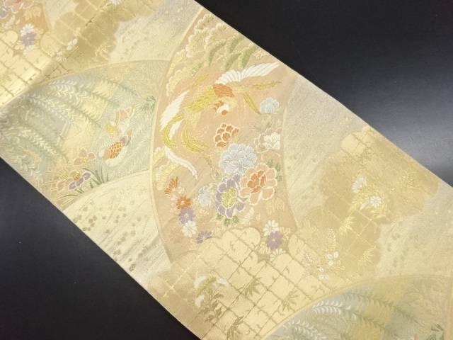 【IDN】 服部織物製 本金鳳凰・鴛鴦に花模様織り出し袋帯【リサイクル】【中古】【着】