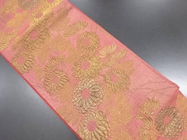 【IDN】 漆箔金糸菊模様織り出し袋帯【リサイクル】【中古】【着】