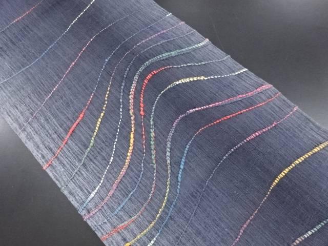 【IDN】 未使用品 すくい織よろけ横段模様織り出し洒落袋帯【リサイクル】【着】