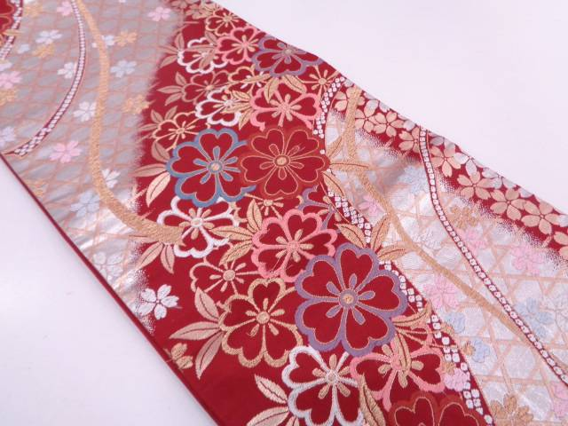 【IDN】 籠目に桜模様織出し袋帯【リサイクル】【中古】【着】