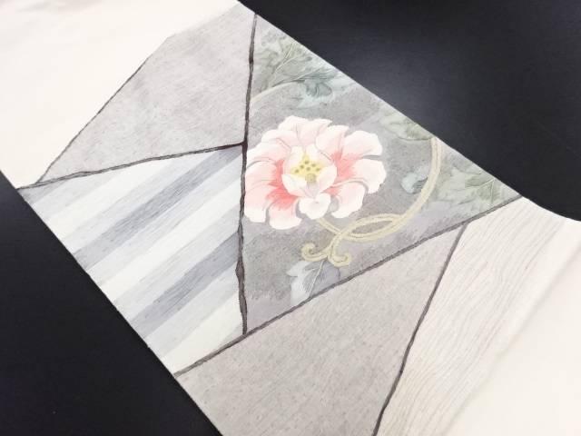 【IDN】 綴れ切りばめ風横段唐花模様織り出し袋帯【リサイクル】【中古】【着】