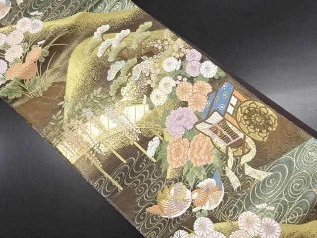 【IDN】 本金箔花に鴛鴦・御所車模様織り出し袋帯【リサイクル】【中古】【着】