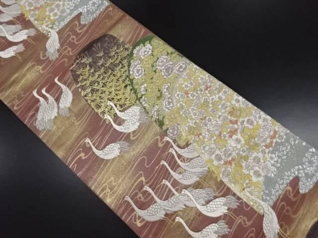 【IDN】 本金鶴に桜・花模様織り出し袋帯【リサイクル】【中古】【着】