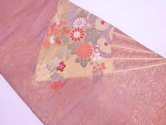 【IDN】 紗 扇面に草花模様織出し袋帯【リサイクル】【中古】【着】