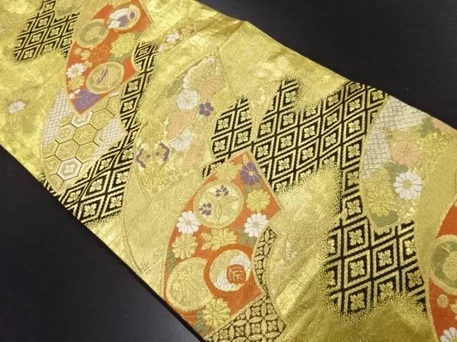 【IDN】 金糸地紙に家紋・花菱模様織り出し袋帯【リサイクル】【中古】【着】