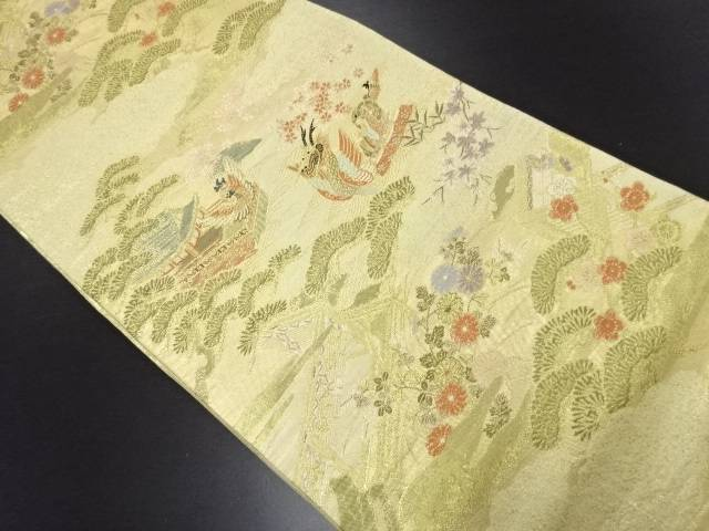 【IDN】 金糸松に屋敷・竜頭鷁首模様織り出し袋帯【リサイクル】【中古】【着】
