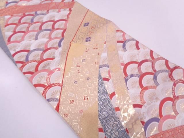 【IDN】 竹節に花唐草・古典柄模様織出し袋帯【リサイクル】【中古】【着】