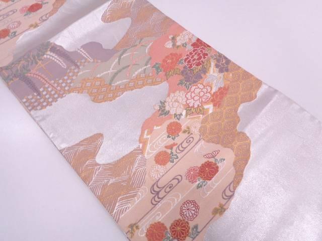 【IDN】 道長取りに草花・古典柄模様織出し袋帯【リサイクル】【中古】【着】