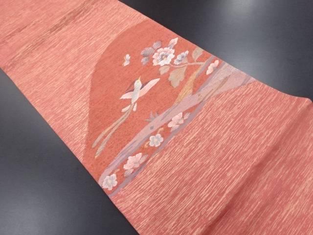 【IDN】 未使用品 明綴れ鳥に花・蝶模様織り出し袋帯【リサイクル】【着】