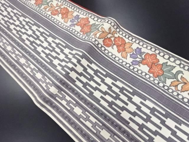 【IDN】 未使用品 幾何学に花唐草模様織り出し全通洒落袋帯【リサイクル】【着】