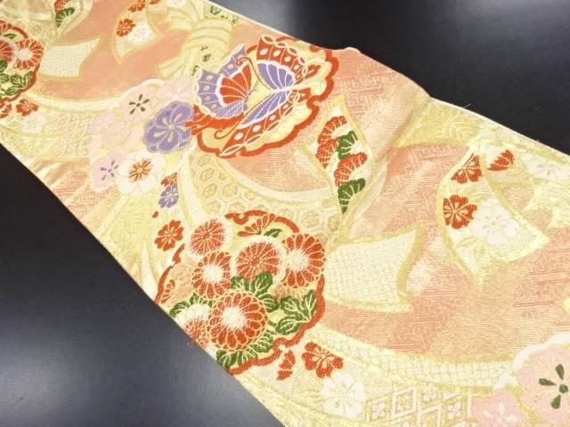 【IDN】 佐賀錦束ね熨斗に菊・蝶・梅模様織り出し袋帯【リサイクル】【中古】【着】