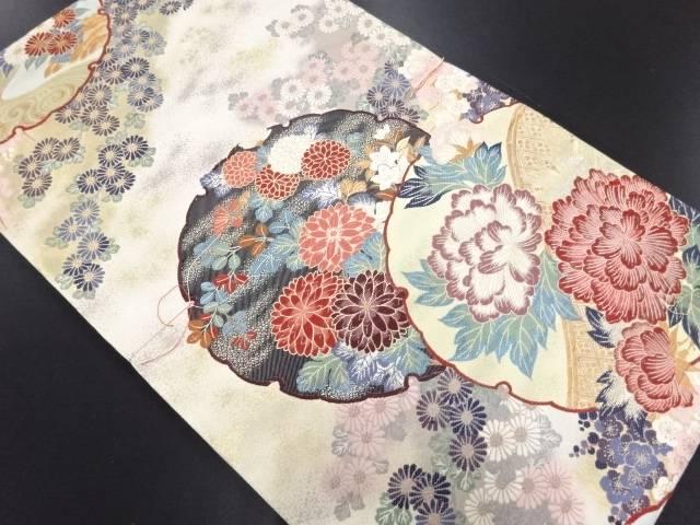 【IDN】 未使用品 本金箔雪輪に花模様織り出し袋帯【リサイクル】【着】