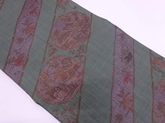 【IDN】 未使用品 斜め縞に草花模様織出し袋帯【リサイクル】【着】