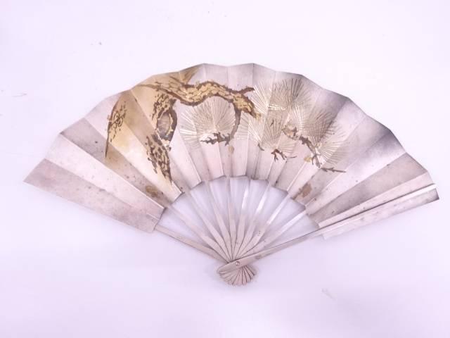 【IDN】 純銀製松彫扇面飾(186グラム)【中古】【道】