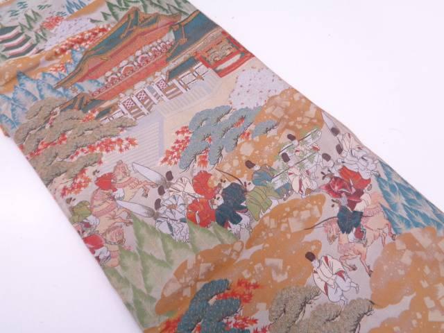 【IDN】 萬葉製 時代人物に寺院風景模様織出し全通袋帯【リサイクル】【中古】【着】