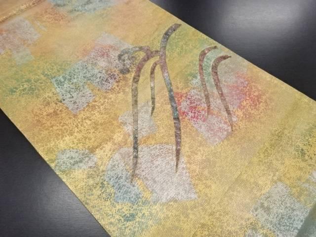 【IDN】 引き箔螺鈿荒波に抽象模様織り出し袋帯(未仕立て)【リサイクル】【中古】【着】