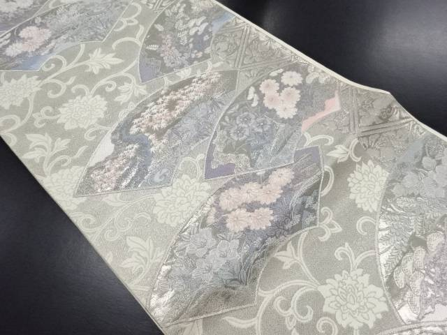 【IDN】 プラチナ箔地紙に秋草模様織り出し袋帯【リサイクル】【中古】【着】