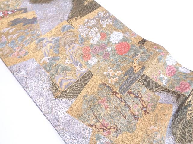 【IDN】 未使用品 色紙に松模様織出し袋帯【リサイクル】【着】