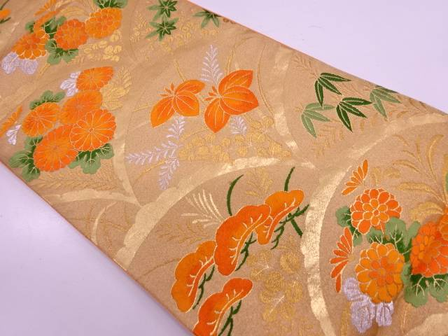 【IDN】 雪芝に松・草花模様織出し袋帯【リサイクル】【中古】【着】