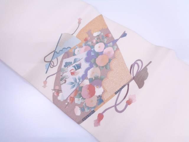 【IDN】 爪綴れ檜扇に鴛鴦・万寿菊模様織出し名古屋帯【リサイクル】【中古】【着】