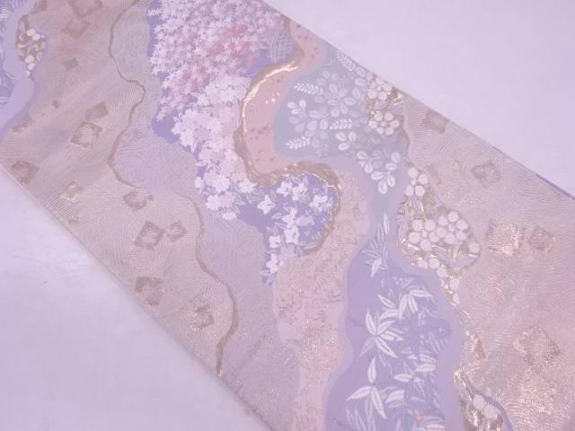 【IDN】 道長取りに色紙散らし・草花模様織出し袋帯【リサイクル】【中古】【着】