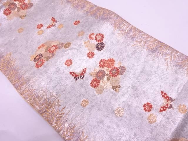 【IDN】 草花に蝶模様織出し袋帯【リサイクル】【中古】【着】