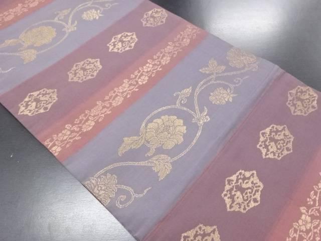 【IDN】 金糸横段に花唐草模様織り出し袋帯【リサイクル】【中古】【着】