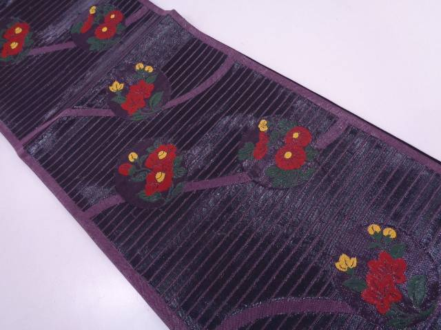 【IDN】 未使用品 横段に草花模様織出し袋帯(未仕立て)【リサイクル】【着】