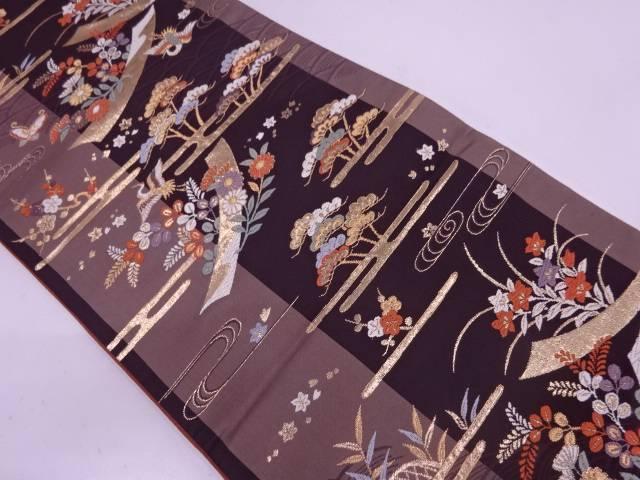 【IDN】 ヱ霞に短冊・花鳥模様織出し袋帯【リサイクル】【中古】【着】, ヨシダグン 1512f06f