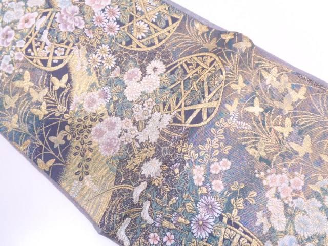 【IDN】 花籠に蝶模様織出し袋帯【リサイクル】【中古】【着】