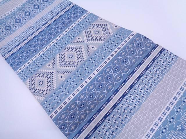 【IDN】 未使用品 横段に幾何学模様織出しリバーシブル袋帯【リサイクル】【着】