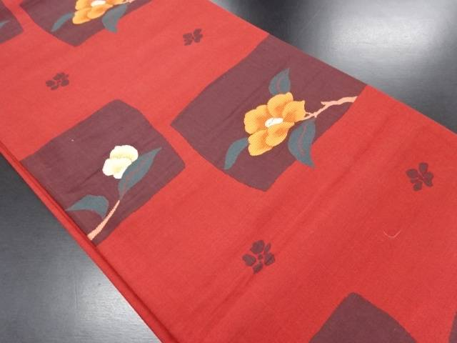【IDN】 石畳に枝椿模様織り出し洒落袋帯【リサイクル】【中古】【着】