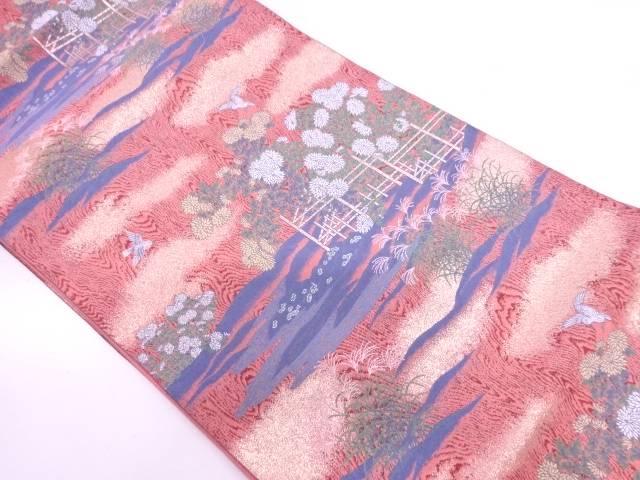 【IDN】 竹垣に花鳥模様織出し袋帯 【リサイクル】【中古】【着】