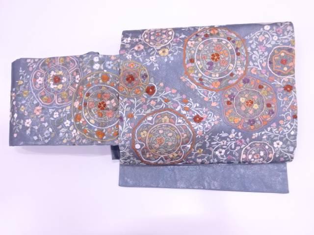 【IDN】 蘇州刺繍草花模様作り帯【リサイクル】【中古】【着】