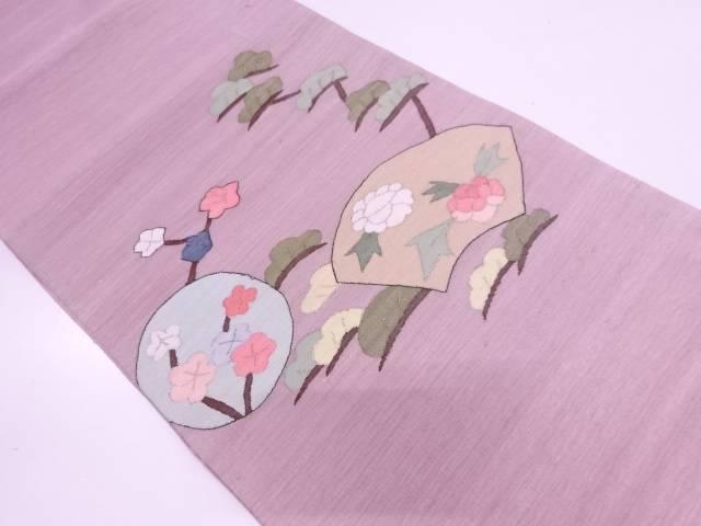 【IDN】 すくい織地紙に松梅・草花模様織出し袋帯【リサイクル】【中古】【着】