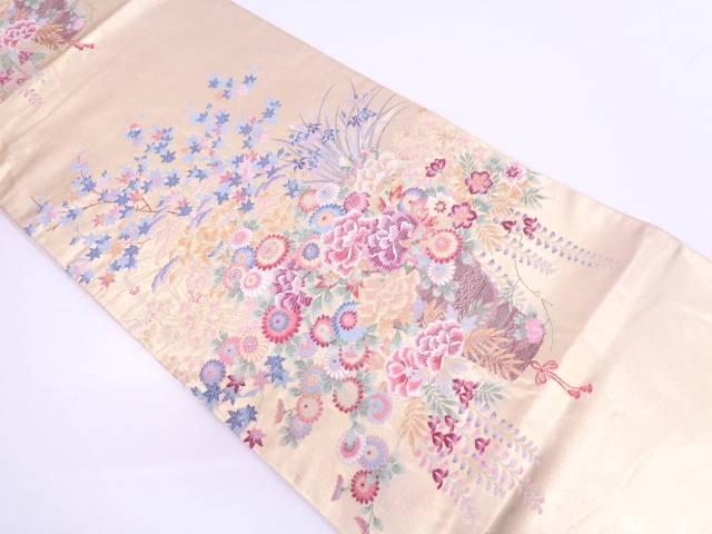 【IDN】 本金泥箔花籠模様織出し袋帯【リサイクル】【中古】【着】