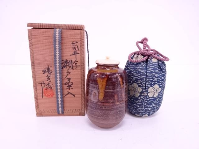 【IDN】 瑞光窯造 筒井写瀬戸茶入【中古】【道】