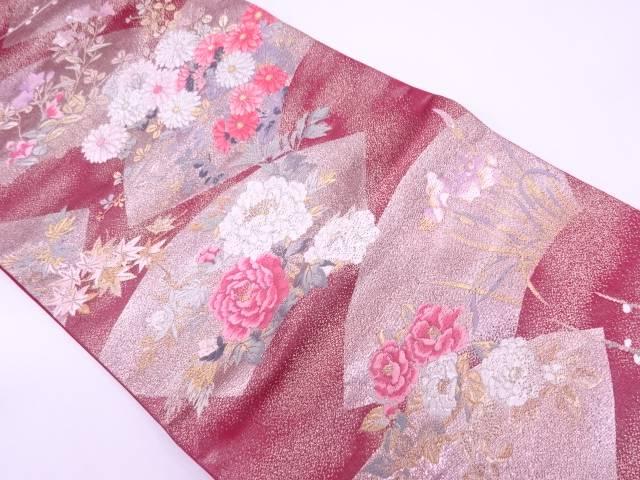 【IDN】 地紙に草花模様織出し袋帯【リサイクル】【中古】【着】