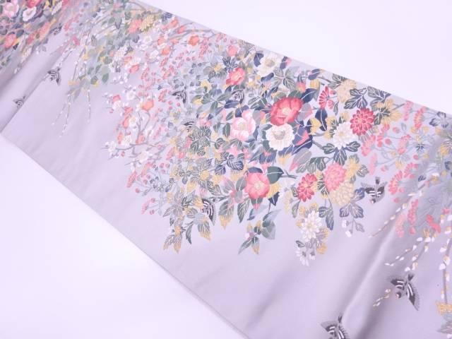 【IDN】 未使用品 となみ織物製 百貫華峰監修 花鳥模様織出し袋帯【リサイクル】【着】