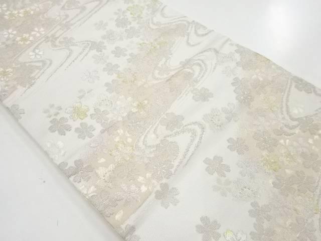 【IDN】 輪奈ビロード流水に桜模様織り出し袋帯【リサイクル】【中古】【着】