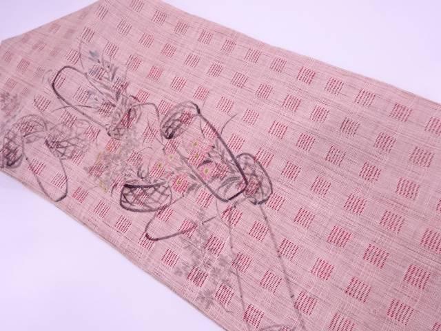 【IDN】 作家物 本場越後上布手描き花籠模様名古屋帯【リサイクル】【中古】【着】
