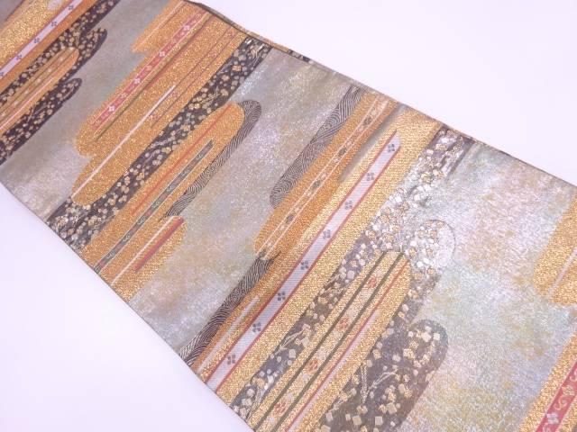 【IDN】 ヱ霞に松葉・色紙散らし模様織出し袋帯 【リサイクル】【中古】【着】