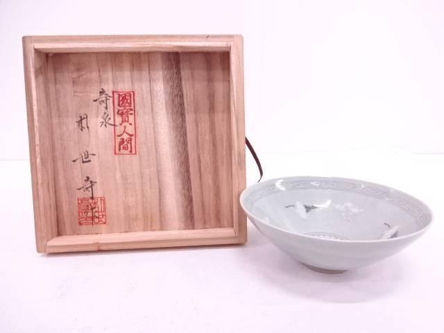【IDN】 奇泉窯 朴世造 高麗青磁雲鶴平茶碗【中古】【道】