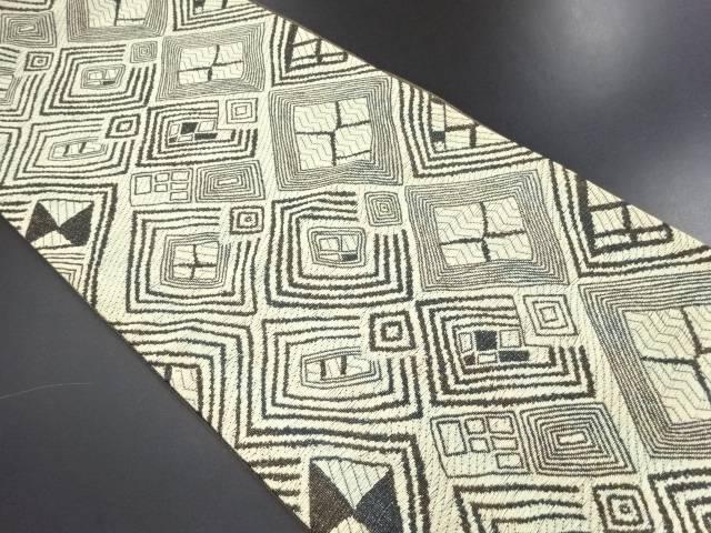 【IDN】 幾何学模様織り出し袋帯【リサイクル】【中古】【着】