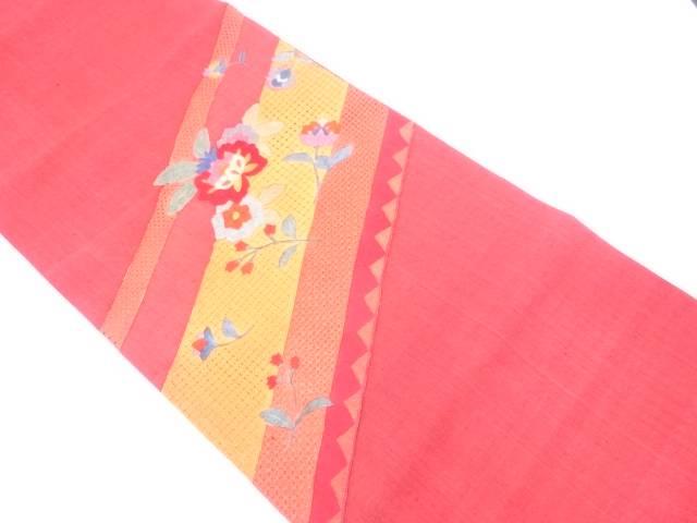 【IDN】 未使用品 汕頭刺繍草花模様袋帯【リサイクル】【着】