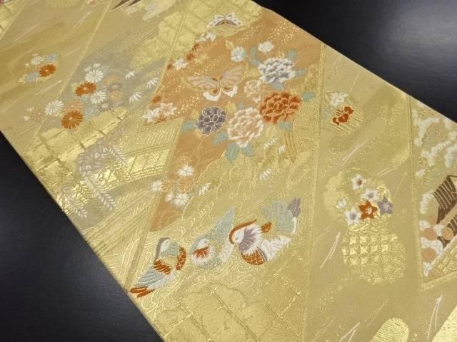 【IDN】 本金箔幾何学に屋敷・鴛鴦・蝶・花模様織り出し袋帯【リサイクル】【中古】【着】
