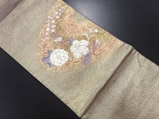 【IDN】 霞取りに辻ヶ花模様刺繍袋帯【リサイクル】【中古】【着】